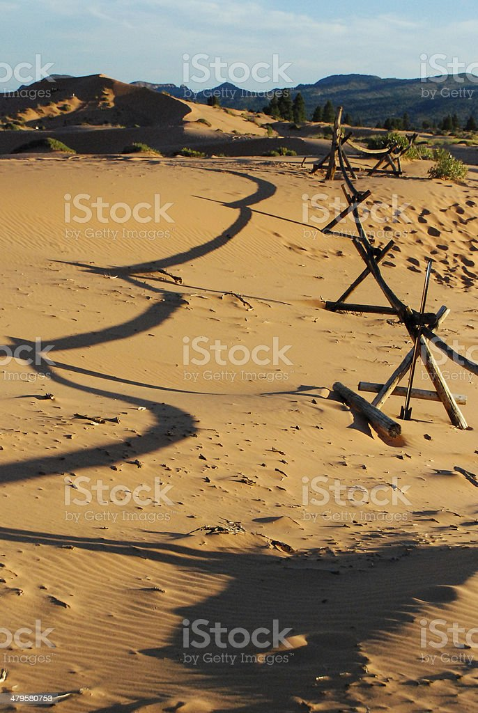 Rustic Fence Shadows Coral Pink Sand Dunes State Park Utah stock photo