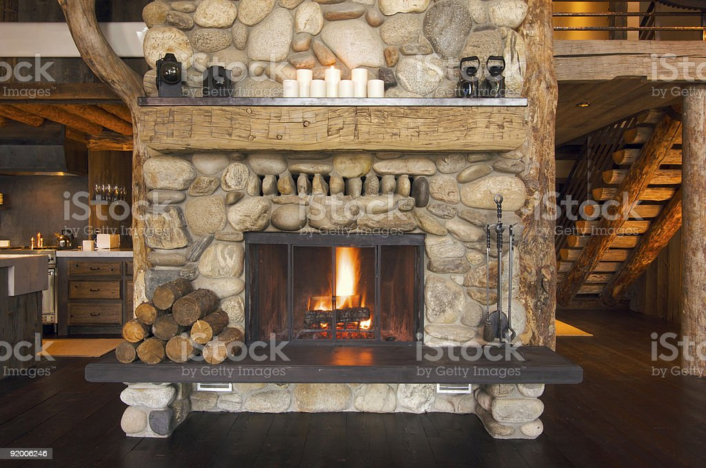 Rustic Fireplace stock photo