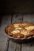 Rustic french apple cake with vanilla and rum
