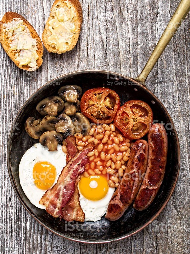 rustic full english breakfast stock photo