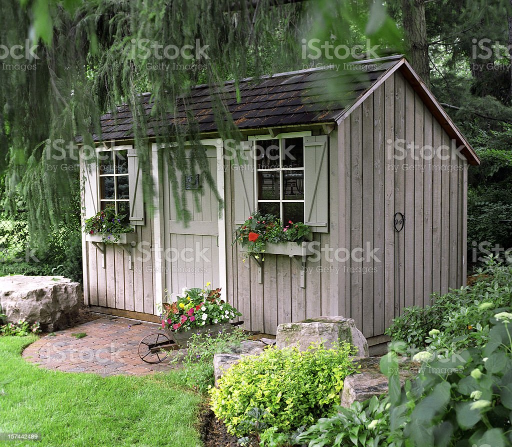 Rustic Garden shed stock photo