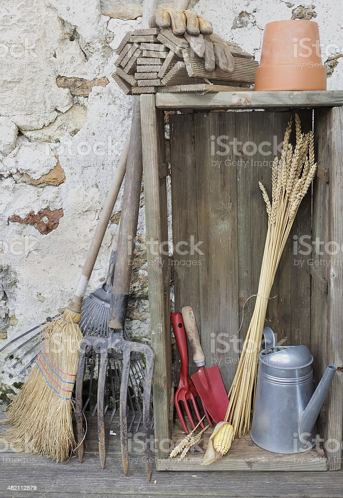 rustic gardening tools stock photo