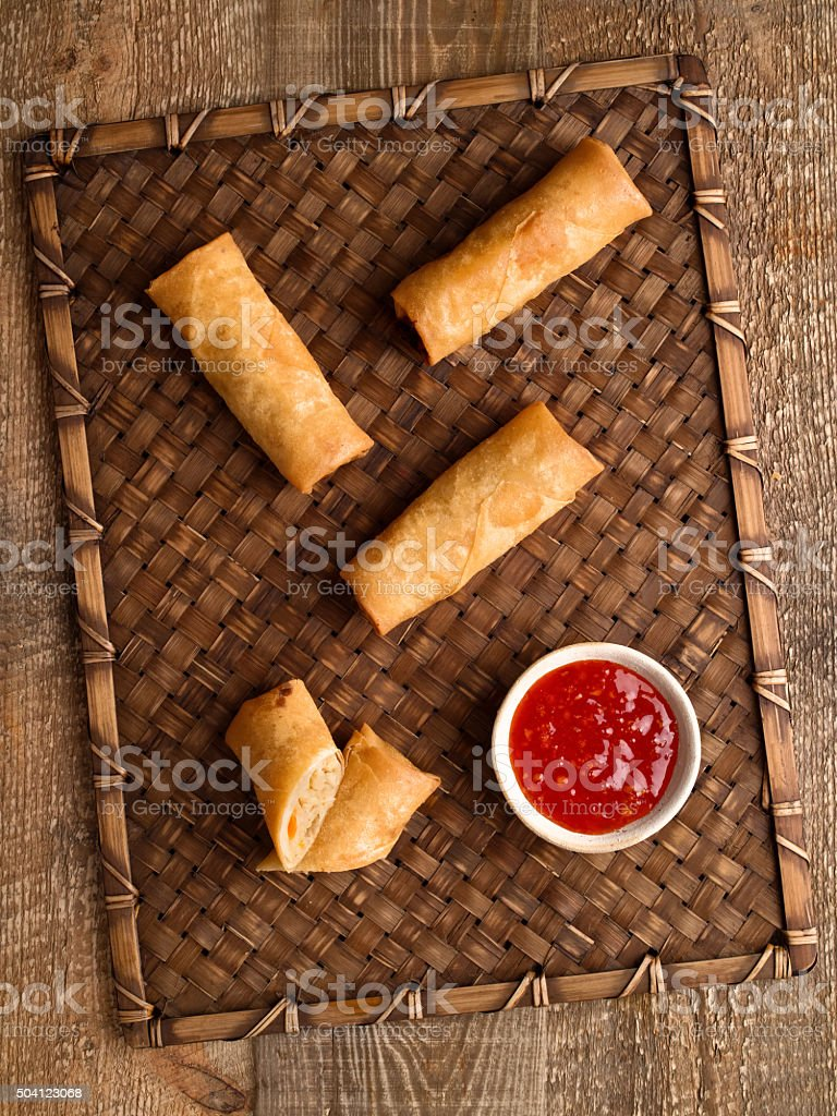 rustic golden chinese spring rolls stock photo