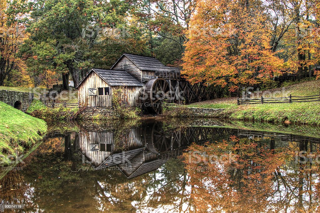 Rustic Gristmill in Autumn royalty-free stock photo