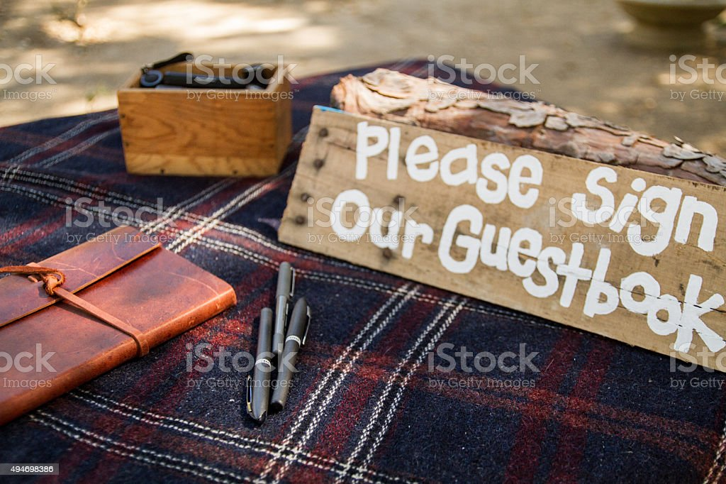 Rustic guestbook sign stock photo