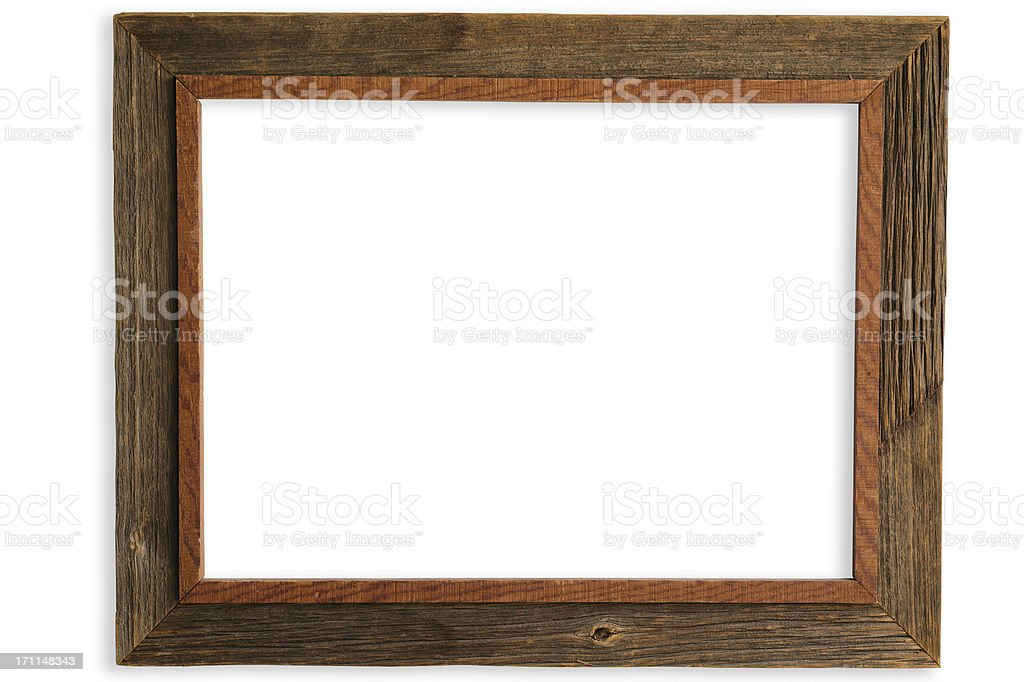 Rustic Handmade Barnwood Frame with Clipping Path stock photo