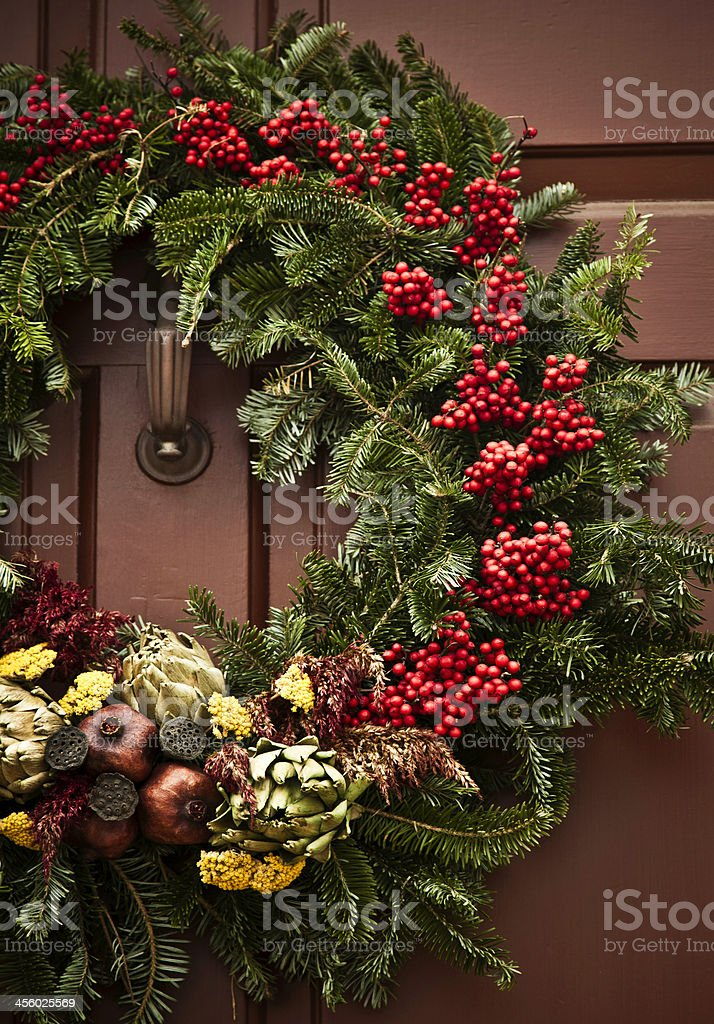 Rustic Holiday Wreath royalty-free stock photo