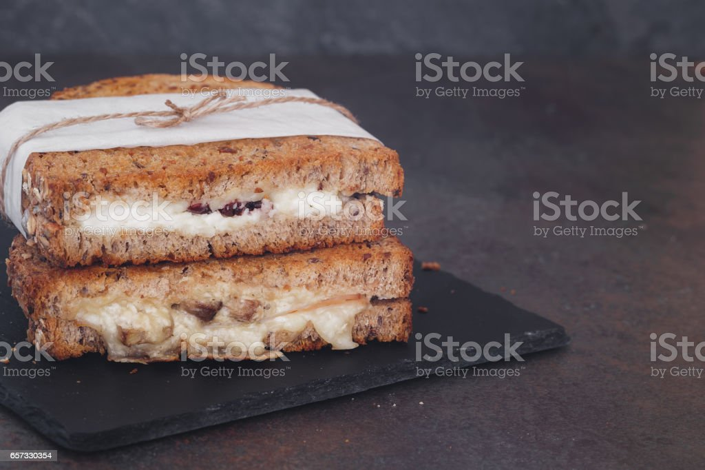 Rustic homemade grilled sandwiches stock photo