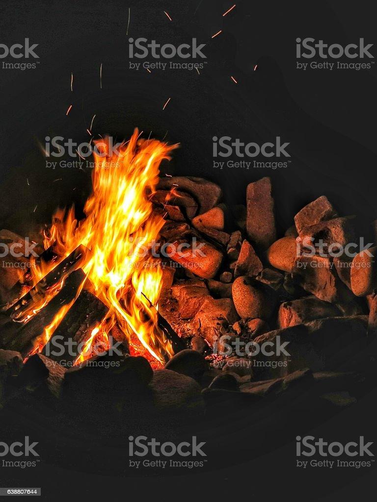 Rustic Homemade Rock Campfire Bonfire Pit, Night stock photo