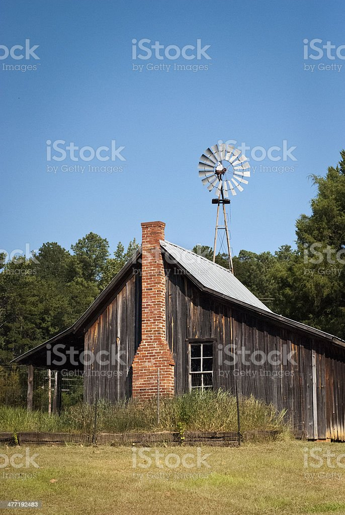 Rustic Homestead Cabin with Windmill stock photo