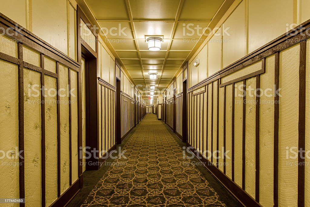 Rustic hotel hallway royalty-free stock photo