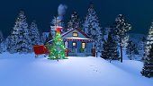 Rustic house decorated for Christmas at night