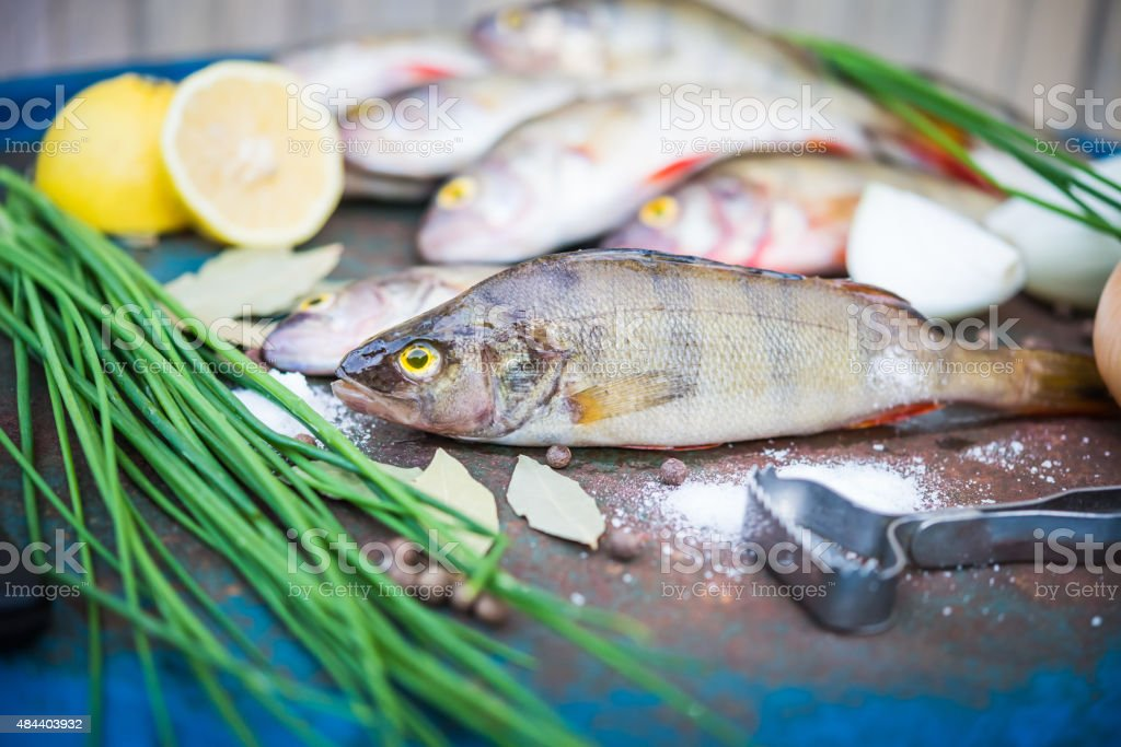 Rustic, Ingredients, Cooking, Raw Foods, Fish, Perch, Spices stock photo