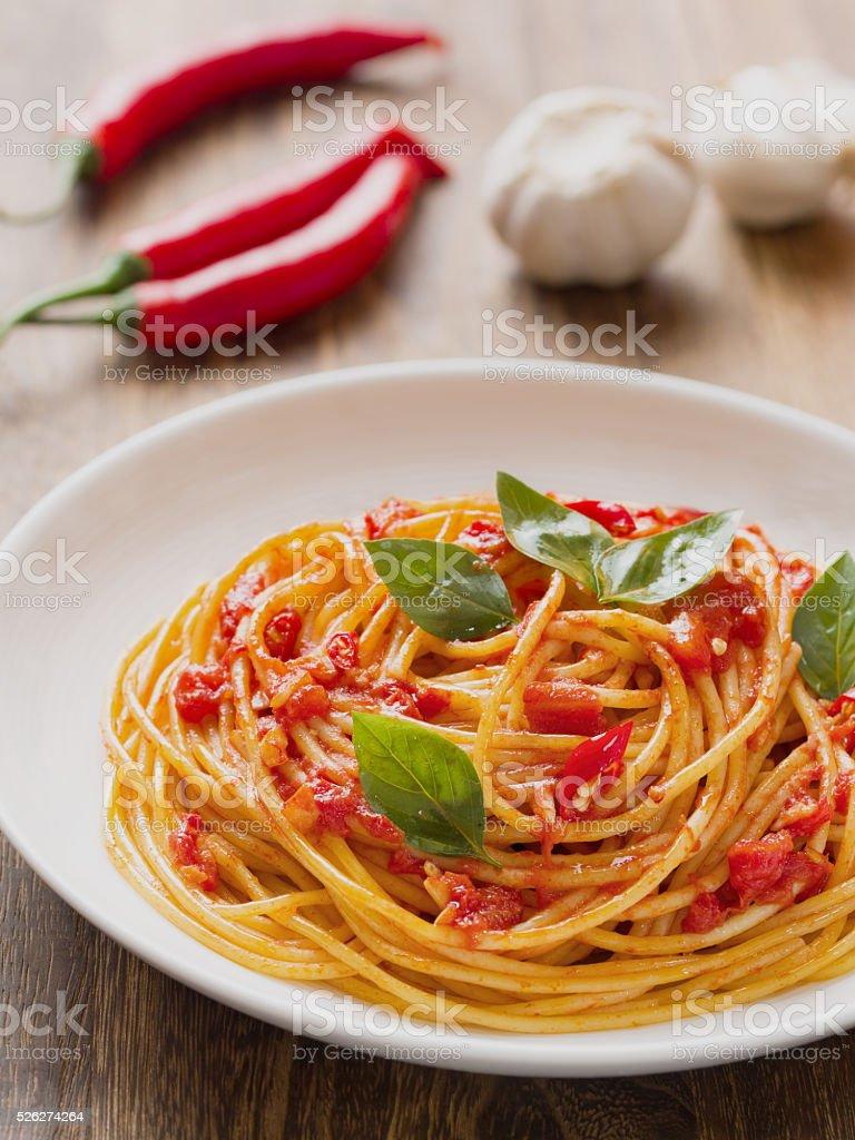 rustic italian spaghetti arrabbiata pasta stock photo