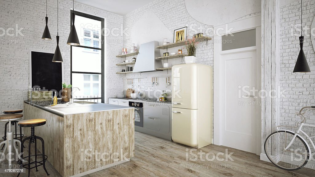 Rustic kitchen stock photo