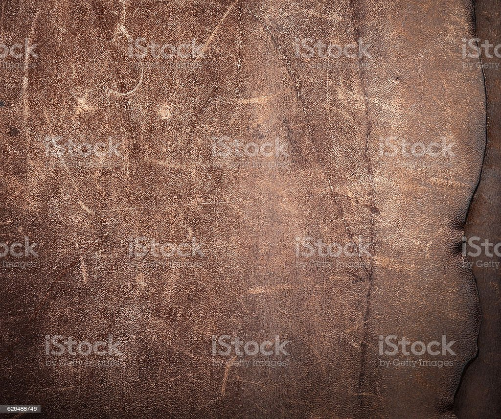 Rustic leather background.Leather texture from an old bag. stock photo