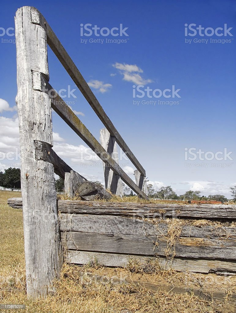 rustic livestock loading ramp: big sky country stock photo