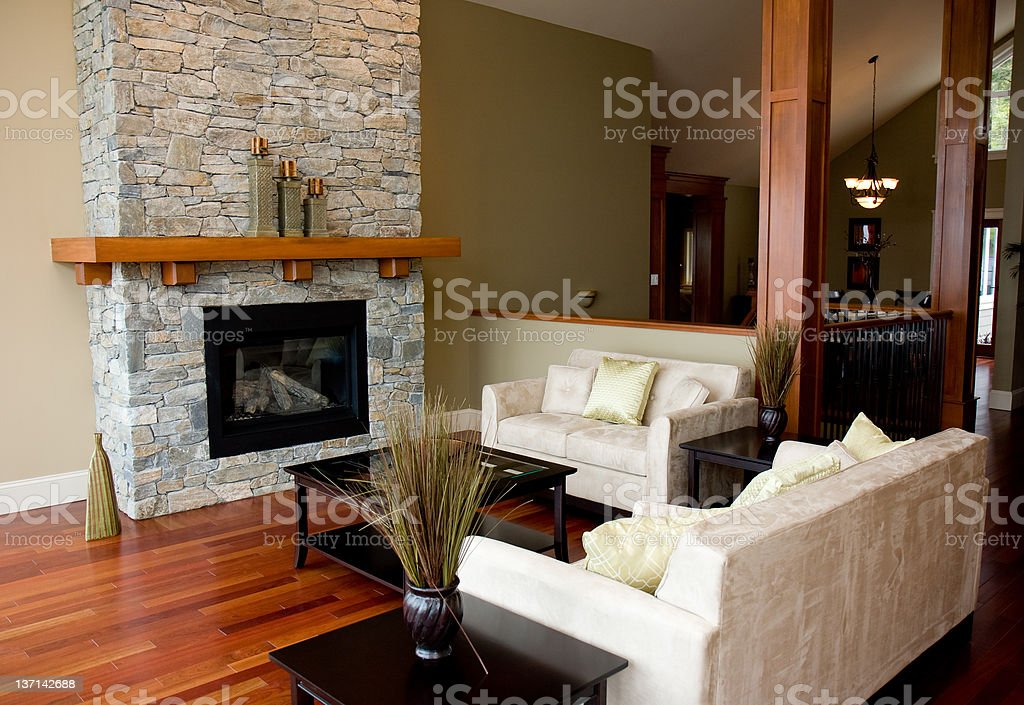 Rustic living room in a mansion stock photo