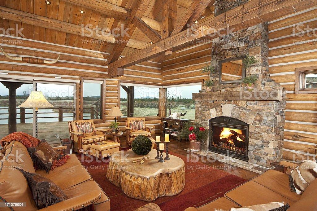 Rustic living room stock photo
