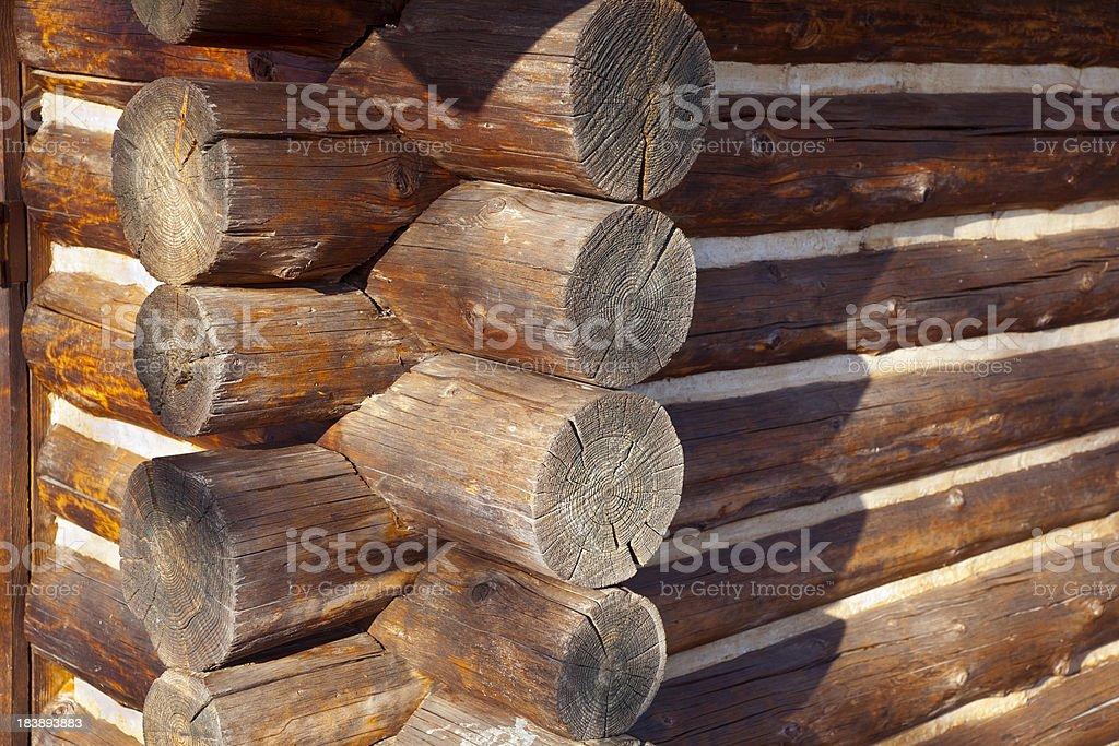 Rustic Log Cabin Corner Joint stock photo
