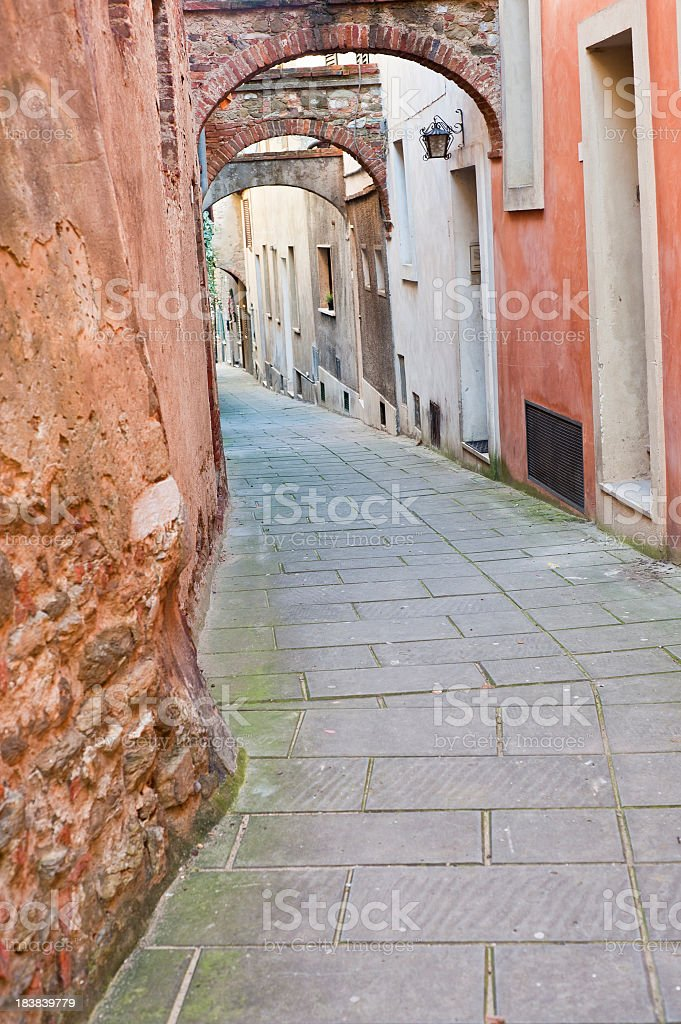 Rustic Medieval Alley In Siena City, Tuscany royalty-free stock photo