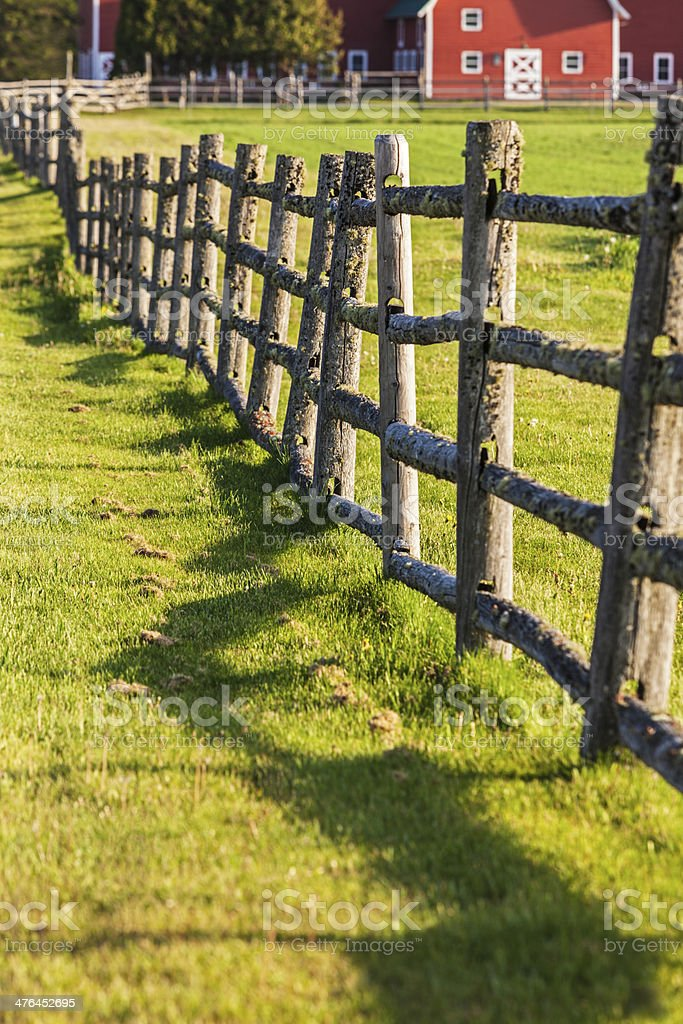 Rustic Mossy Wooden Fence stock photo