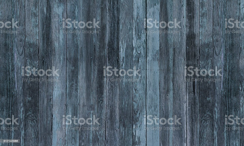 Rustic Old Blue Black Woodgrain Fence Boards Abstract Background stock photo