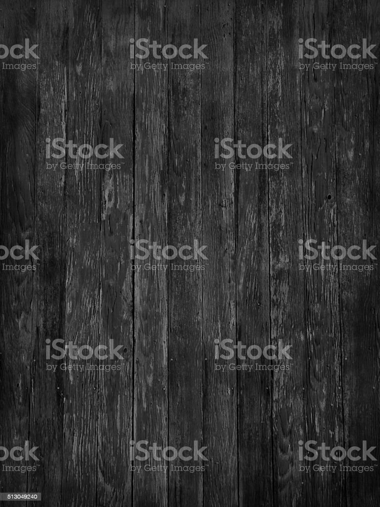 Rustic Old Dark Monochrome Woodgrain Fence Boards Abstract Background stock photo