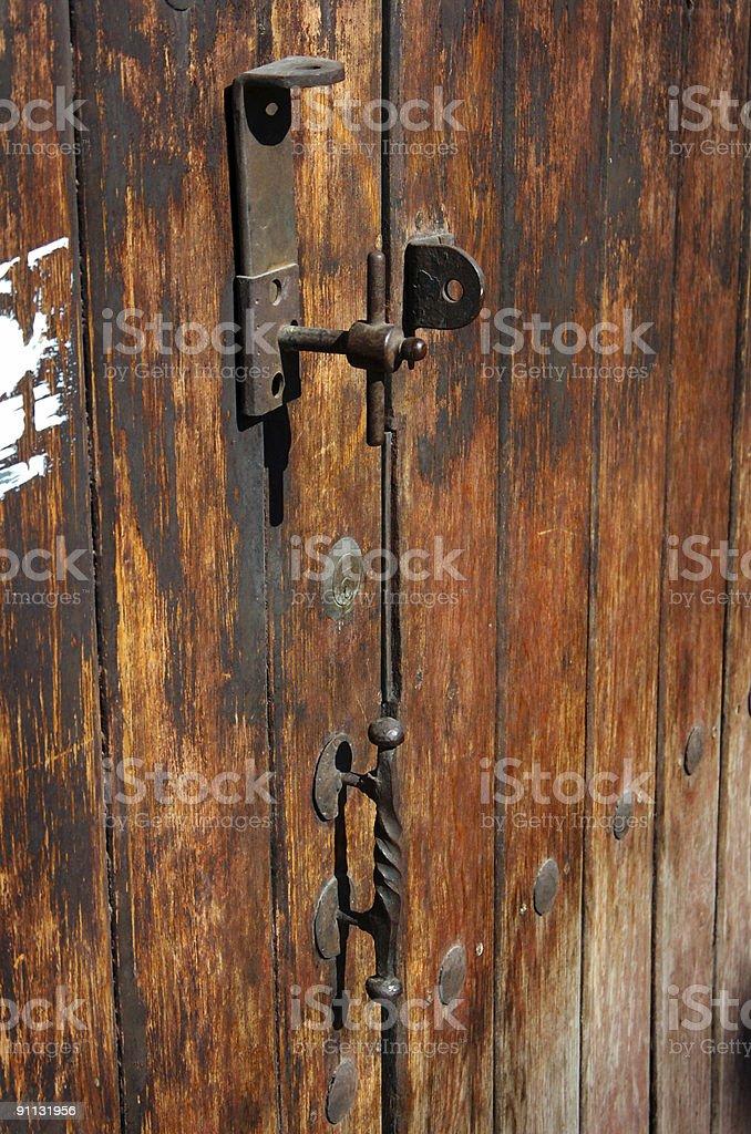 Rustic old wooden door royalty-free stock photo