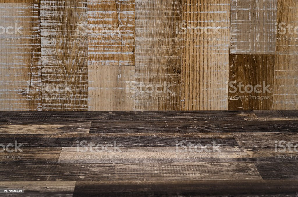 Rustic old wooden table or floor stock photo