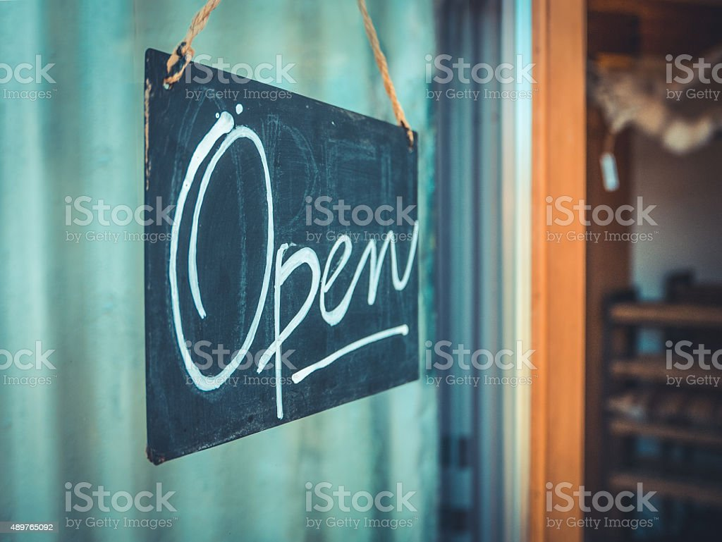 Rustic Open Sign stock photo