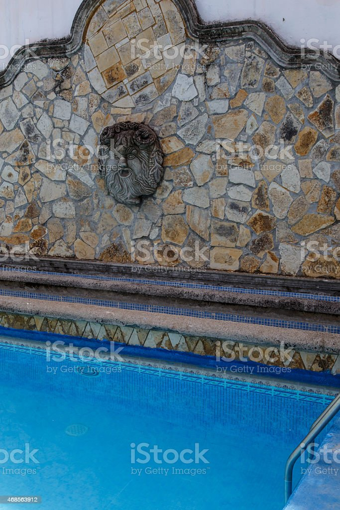 rustic outdoors pool detail stock photo