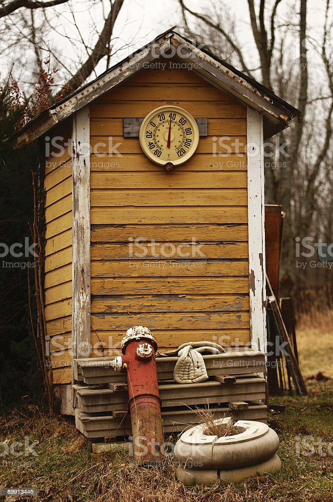 Rustic Outhouse stock photo