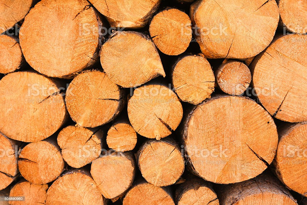 Rustic pile of logs stock photo