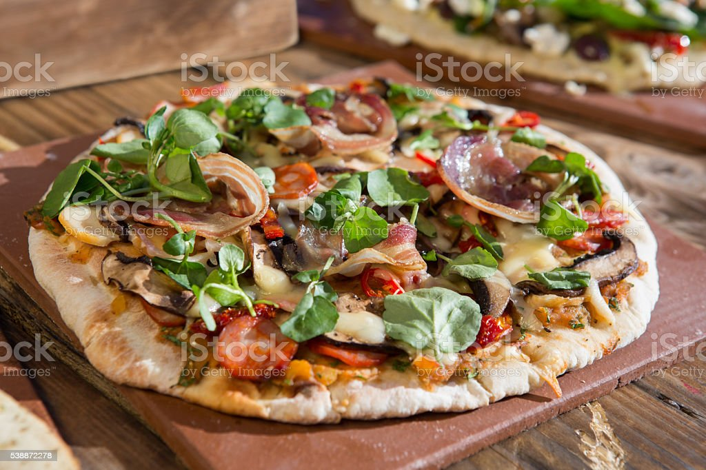 Rustic Pizza stock photo