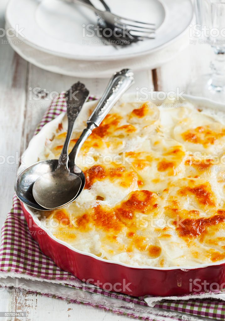 Rustic potato gratin stock photo