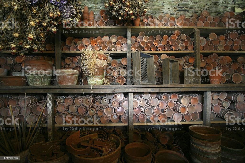 A rustic potting shed stock photo