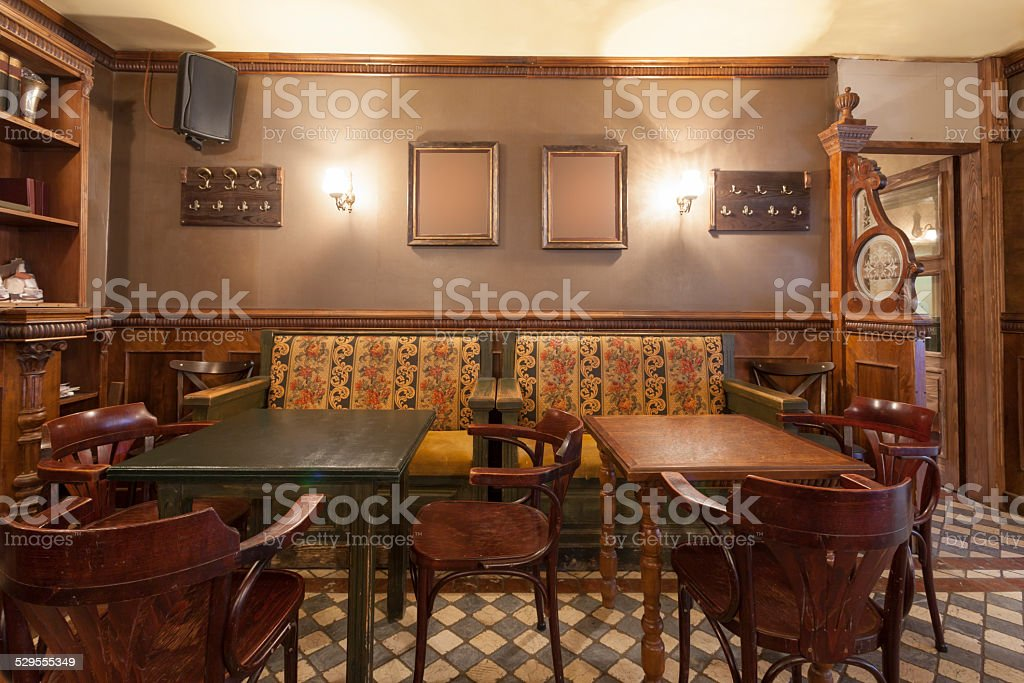 Rustic pub interior stock photo