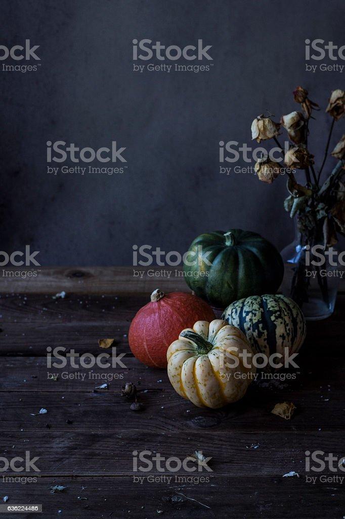 Rustic pumpkins background stock photo