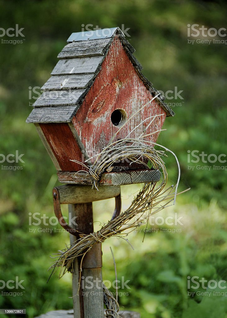 Rustic Red Birdhouse royalty-free stock photo