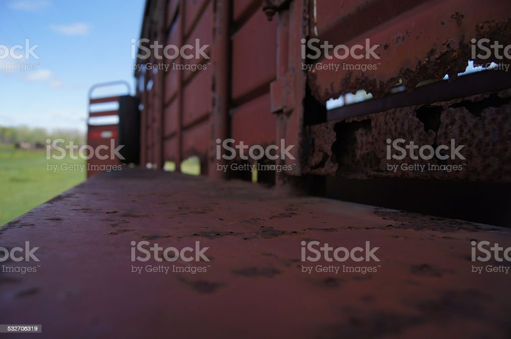 Rustic Red Cattle Trailer stock photo