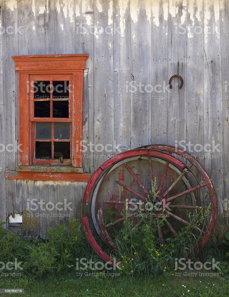 Rustic Red Window royalty-free stock photo