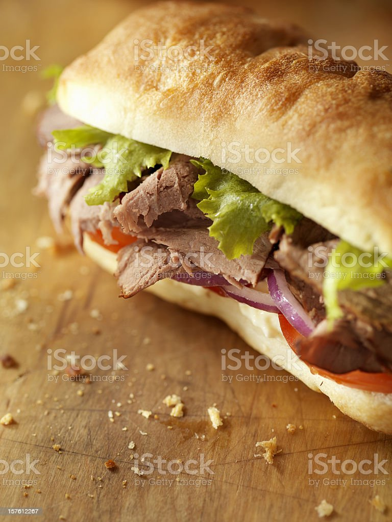 Rustic Roast Beef Sandwich stock photo