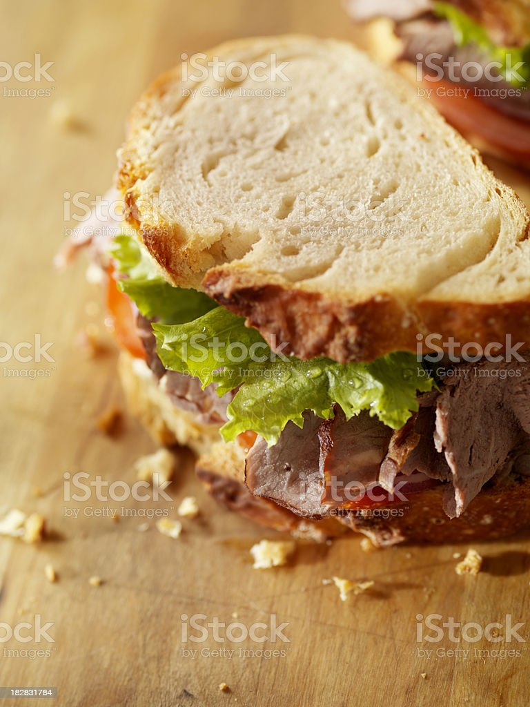 Rustic Roast Beef Sandwich royalty-free stock photo