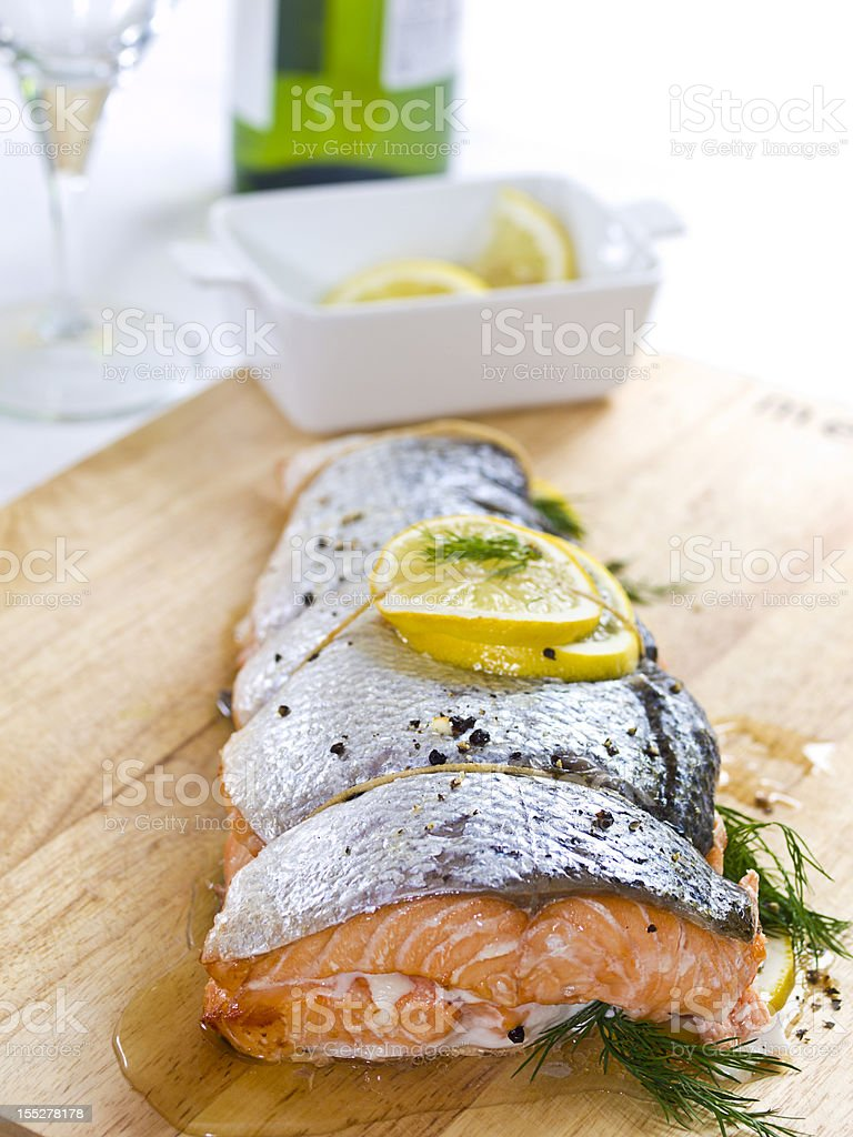 rustic roasted fresh salmon stock photo