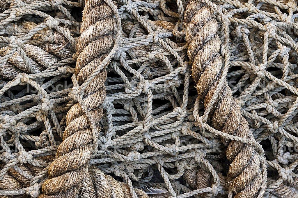 Pesce netto rustica in corda foto stock royalty-free