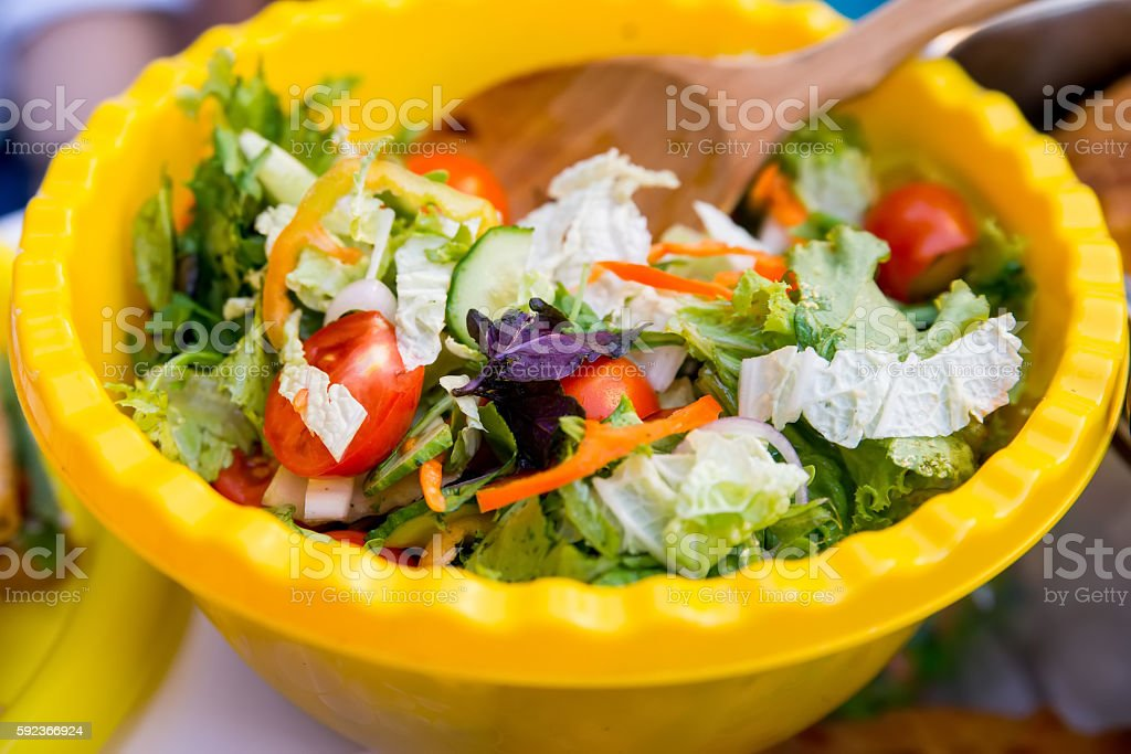 Rustic salad in bowl stock photo