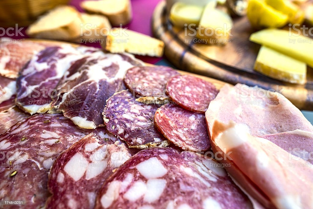 Rustic Salami and Cheese stock photo