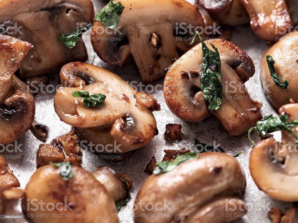 rustic sauteed mushroom stock photo