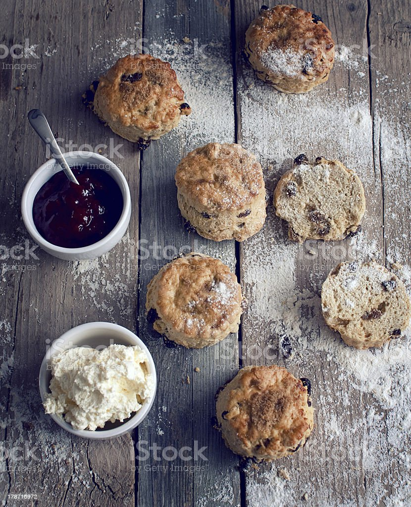 rustic scones with jam and cream stock photo